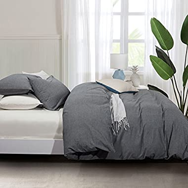 Seamour Duvet Cover, Bedding Duvet Cover Set, 100% Washed Cotton, 3-Piece,Ultra Soft and Easy Care,Simple Style Bedding Set (Queen, Dark Grey 7003-4)