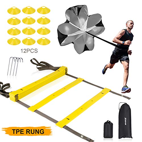 XGEAR Speed Agility Training Set - Indoor Outdoor Adjustable Rungs Agility Ladder, Resistance Parachute, 4 Steel Stakes, 12 Disc Cones - Kit for Soccer, Lacrosse, Hockey, Basketball Drill