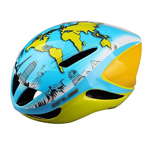 JIAGU Cascos para Bicicletas para Adultos Camino de la Bici neumático Casco Casco Casco de equitación Mapa del Casco de Ciclista (Color : Blue, Size : L)