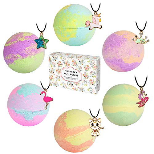 Bath Bombs with Surprise Necklaces – 6pcs 5.5 oz Bubble Bath Fizzies for Kids Unicorn Bath Bombs Gift Set for Women Girls Birthday Christmas Anniversary