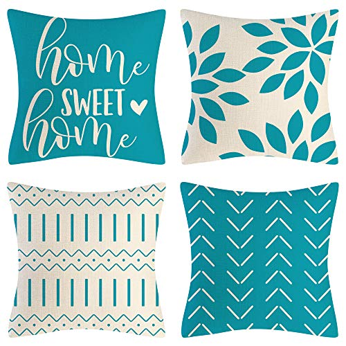 Eneston Aqua Blue Pillow Covers 18x18 Set of 4 Home Decorative Throw Pillow Covers Outdoor Linen Couch Throw Pillow Case for Sofa Chair Bed Living Room Décor