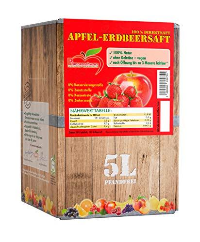 Pfannenschwarz Apfel-Erdbeersaft 100% Direktsaft, 2er Pack (2x5 l Bag in Box)