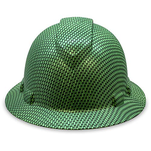 Full Brim Hard Hat Construction OSHA Hardhats, Men Women Safety Helmet, 4 Point, Custom Carbon Fiber Design, Flag Decal, By ACERPAL, Green Rattan