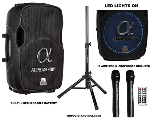 """Alphasonik 15"""" Portable Rechargeable Battery Powered 1500W PRO DJ Amplified Loud Speaker with 2 Wireless Microphones Echo Bluetooth USB SD Card AUX MP3 FM Radio PA System LED Ring Karaoke Tripod Stand"""