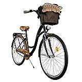 Milord. Cómoda Bicicleta de Ciudad, Bicicleta, 1 Velocidades, Rueda de 28', Negro-Marrón