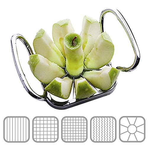 ZSWB Multifunctional Vegetable Fruit Cutters Apple Pear Chips Manual Strip Chopper Potato Fries Slicer Shredders Kitchen Tool 5 In 1 Stainless Steel Kitchen Gadget 3.4 (Color : Silver)