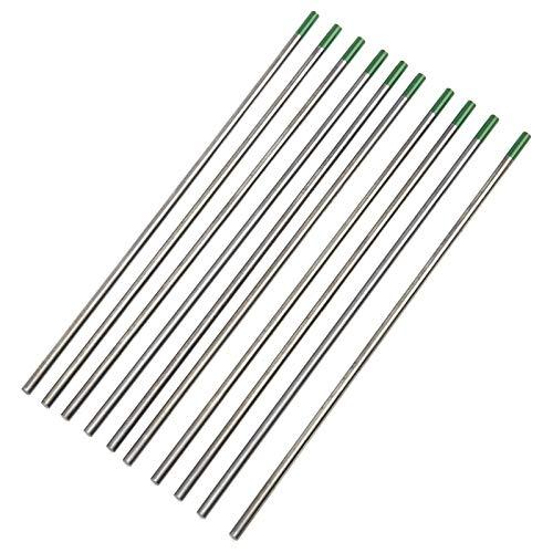 rgon Arc Electrodos de tungsteno Accesorios de soldadura Aguja de soldadura TIG de cabeza verde WP Electrodo de tungsteno puro para chapa de soldadura de acero inoxidable de 3,2 mm x 150 mm