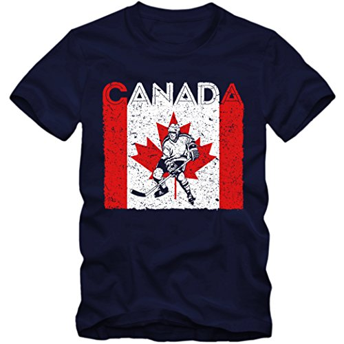 Canada Eishockey #4 Premium T-Shirt Kanada Flagge EIS-Hockey-Spieler Herren Shirt, Farbe:Dunkelblau (French Navy L190);Größe:L