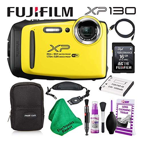 Fujifilm FinePix XP130 (600019828) Waterproof Digital Camera (Yellow) Budget-Friendly Camera Accessory Bundle Includes Camera Cleaning Kit, Zippered Carrying Case, and Lots More
