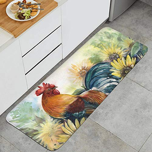 Kitchen Mat Kitchen Rugs Cushioned Chef Soft Non-Slip Rubber Back Floor Mats Washable Oil Proof Doormat Bathroom Runner Area Rug Carpet (17.7' x 47.2', Sunflower and Rooster)