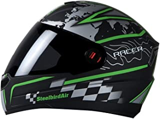 Steelbird SBA-1 Racer Matt Black and Green with smoke visor,600mm