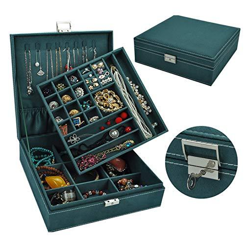 HotVinds Two-Layer Jewelry Organizer, Lint Jewelry Box Organizer Display Storage Case with Lock for Girls/Women (Dark Green)