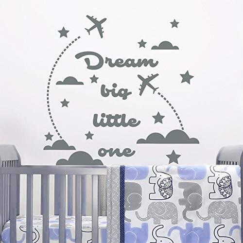 ASFGA Nube avión Etiqueta de la Pared Famoso sueño tamaño uno Nube y Estrellas Etiqueta de la Pared jardín de Infantes decoración de la habitación del bebé Cartel de Vinilo: Amazon.es: Hogar