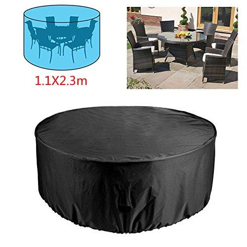 RUILASA - Juego de funda redonda para mesa de patio exterior, tamaño mediano, resistente y duradero, alta calidad, impermeable, UV, funda para muebles – negro (4 – 6 asientos) 1,1 x 2,3 m
