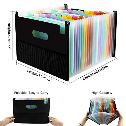 Expanding File Folders with Mesh Bag, 24 Pockets Accordian File Organizer, Expandable File Box with Cloth Edge Wrap, Portable Accordion File Organizer, Filing Box A4 Letter Size for Office, School Photo #3