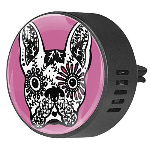 2 Pack Office Home Car Air Freshener Aromatherapy Essential Oil Diffuser Locket Clip Frenchie Cute Dog Day Of The Dead