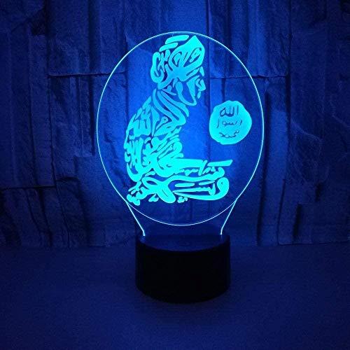 Lámpara de sueño LED 3D Carácter ArabUSB Powered 7 colores Interruptor táctil intermitente Los mejores regalos de vacaciones de cumpleaños para niños