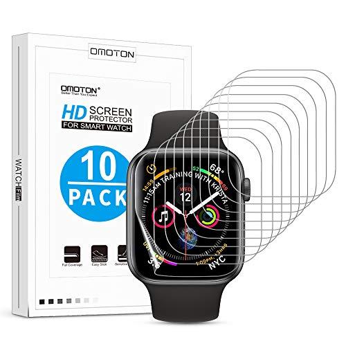OMOTON Protection Ecran pour Apple Watch Serie 4 44mm/ Serie 3/2/1 42mm, Film Souple de Haute Technologie [Couverture Complèt] Facile d'Installation sans Bulles Anti Poussières [Lot de 10]