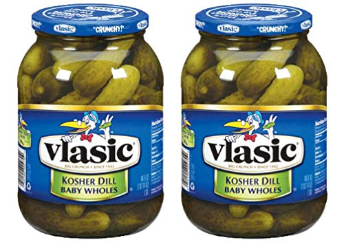 Vlasic Baby Kosher Dill Wholes Pickles, 46 OZ Jar (Pack of 2, Total of 92 Oz)