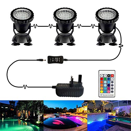 Pond Lights, Miumiu 3Pack IP68 Waterproof Underwater Spot Lights Fish Tank Lights LED Lighting Garden Pond Light Submersible Lights Multi-Color Spotlight Dimmable Aquarium Light with Remote Controller