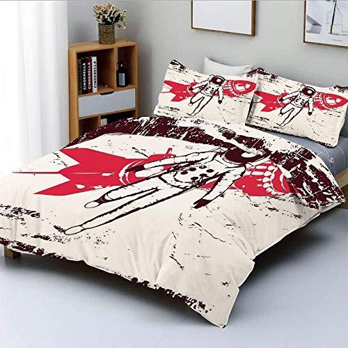 Juego de funda de edredón, astronauta de viaje espacial retro sobre el planeta tierra, juego de cama de 3 piezas decorativo con arte futurista solar original con 2 fundas de almohada, crema rojo marró