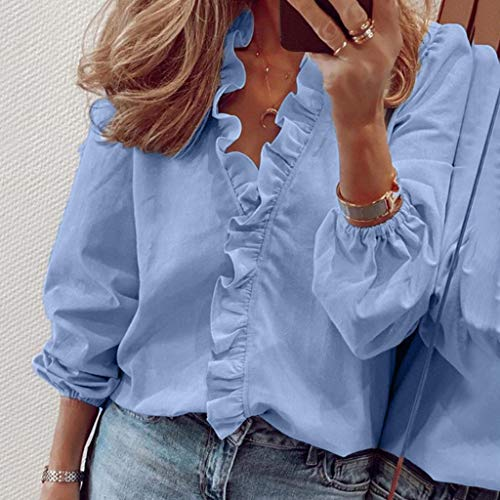 Fcostume Damen Bluse Chiffon Elegant Rüsche Kurzarm Oberteile Blumen Drucken V-Ausschnitt Lose Hemdbluse T-Shirt Tops
