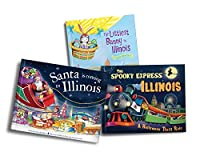 Illinois Books for Kids Gift Set: The Littlest Bunny in Illinois / the Spooky Express Illinois / Santa Is Coming to Illinois