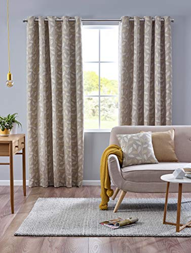 Design Studio Pippa Eyelet Lined Curtains 117/137cm (46x54in) Ochre