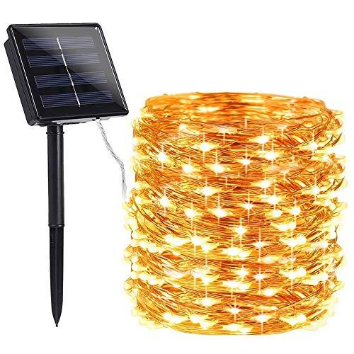 100 Warmweiß LED Solarlichterketten Kupferdraht - Solarbetriebene Wasserfest Solar Garten Lichterketten - Solarlampen mit Eingebaut Nacht Sensor, Kette und Erdspieß