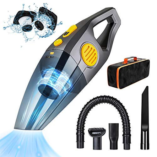 BIUBLE Handheld Vacuum Cordless, 5Kpa/7Kpa Portable Hand Vacuum Cleaner with Two Powerful Suction Level, 120W Rechargeable Wet Dry Car Vacuum Cleaner for Pet Hair, Home and Car Cleaning