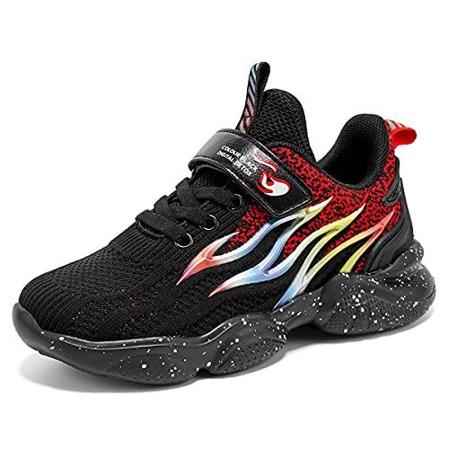 leding Zapatillas de deporte unisex para niños, transpirables, para tiempo libre, cierre de velcro, para niños y niñas., color Negro, talla 31 EU