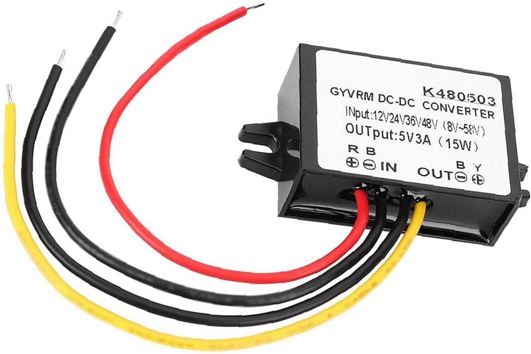 Hainice Power Converter Step Down Power Supply Adapter Module DC-DC 12V/24V/36V/48V to 5V 3A Buck Conventer for Motors Routers