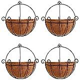 LUXILLA HHNgender - Maceta de metal con revestimiento de Coco Coir, soporte de pared para plantas, para interior y exterior, jardín (4 unidades)