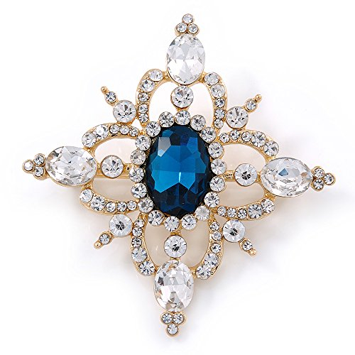 Avalaya Teal Blue/Clear Austrian Crystal Diamond Shape Corsage Brooch in Gold Plating - 50mm L
