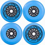 AOWISH 4-Pack Inline Skate Wheels Outdoor Asphalt Formula 90A Aggressive Blades Roller Skates Replacement Wheels with Speed Bearings ABEC 9 and Spacers (Blue, 76mm)