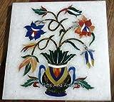 Gifts And Artefacts - Mesa auxiliar de mármol (30,5 x 30,5 cm), diseño de maceteros con piedras preciosas