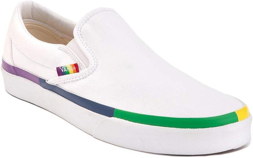 Vans Unisex Slip-On Rainbow Foxing Skate Shoes White Canvas Fashion Sneaker