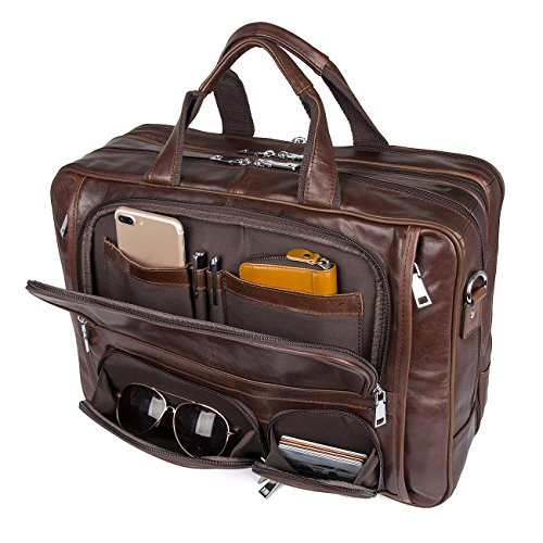 Augus Business Travel Briefcase Genuine Leather Duffel Bags for Men Laptop Bag fits 15.6 inches Laptop YKK Zipper
