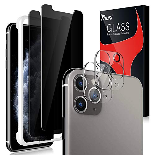 4 Pack Tauri 2 Pack Privacy Screen protector + 2 Pack camera lens Protector Compatible for iPhone 11 Pro Tempered Glass Screen Protector 5.8-inch Bubble Free Black