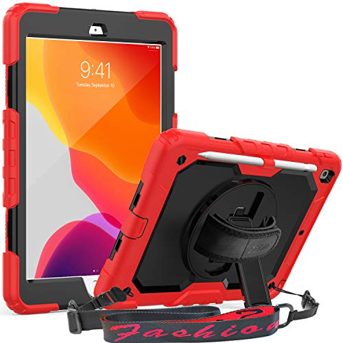 SEYMAC New iPad 10.2 Case 2019, Full Body Rugged Case with Built-in Screen Protector Pencil Holder, 360 Degree Rotatable Hand Strap Stand Shoulder Strap for iPad 7th Generation (Red/Black)