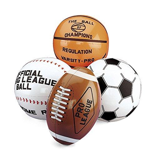 cama24com Aufblasbarer Football Basketball Baseball Fußball 4 Stück groß Wasserball Palandi®
