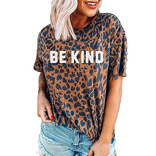 Camiseta Mujer Tops Mujer Sexy Leopardo Estampado De Letras Cuello Redondo Manga Corta Suelta Cómoda Moda Casual Verano Nuevas Mujeres Shirt Mujer Blusa N-Brown M