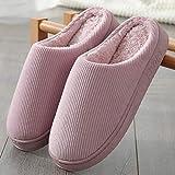 zapatillas casa mujer invierno,Zapatillas de algodón para mujer, a rayas, antideslizantes, de fondo suave, zapatillas de pareja para interiores, zapatos de soporte de lana suave y simple-Beige (femen