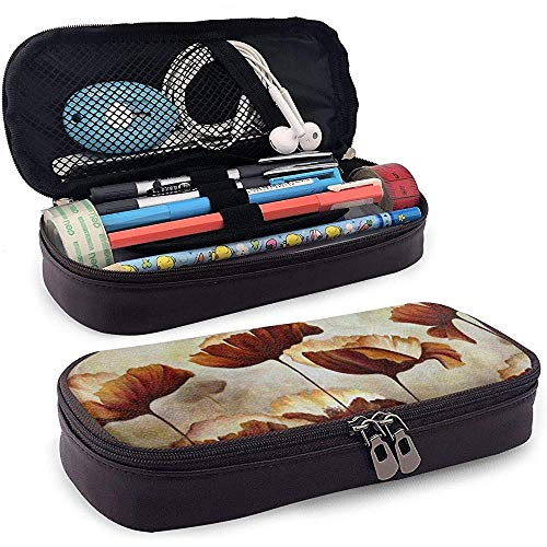 Poppies Flower PU Leather Pen Pen Bag 20 * 9 * 4 cm (8X3.5X1.5 Inches) Pouch Case Holder College Coin Purse Cosmetic Bag