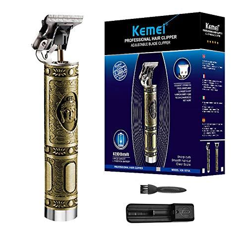 KEMEI Haarschneidemaschinen für Männer Professioneller schnurloser elektrischer Haarpflegeschneider, wiederaufladbares USB T-Blade 0 mm kahlköpfiges Haarschnitt Styling Tool Kit,Buddha