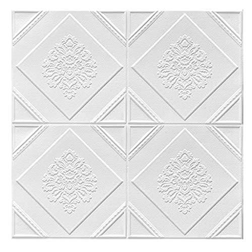 Dongbin Wallpaper 3D Brick Wall Panels 3D-Wand-Aufkleber Geometrische Muster Muster für Schlafzimmer Wohnzimmer TV-Hintergrund-Tapete Deckendekoration-Aufkleber,Weiß