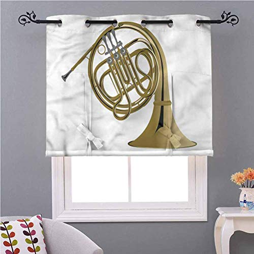 Tie-Up Shade Curtain Music French Horn Brass Orchestra W46 x L54 Inches Tie Up Curtain Valance for Small Window