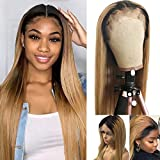Long Wig 24 Inches 13x4 Deep Parting Lace Front Wigs Human Hair Pre Plucked Hairline with Baby Hair 150% Density #1B/27 Ombre Blonde 2 Tones Dark Roots 100% Human Hair Wigs Straight for Women