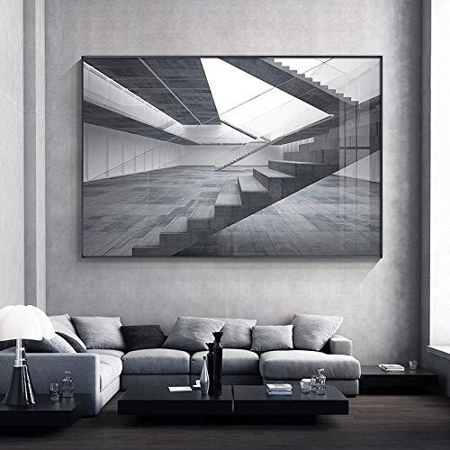 QianLei Abstract Architectuur kunst canvas schilderij poster en druk industriële wandkunst zwart-wit foto's 50x75cm geen lijst