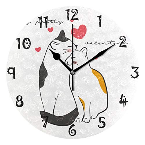LDIYEU Amor Gato Gatito Reloj de Pared Silencioso Decorativo Madera Vintage Relojs para Niños Niñas Cocina Dormitorio Hogar Oficina Escuela Decoración